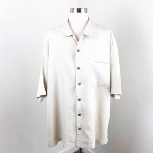Tommy Bahama cream silk button down shirt
